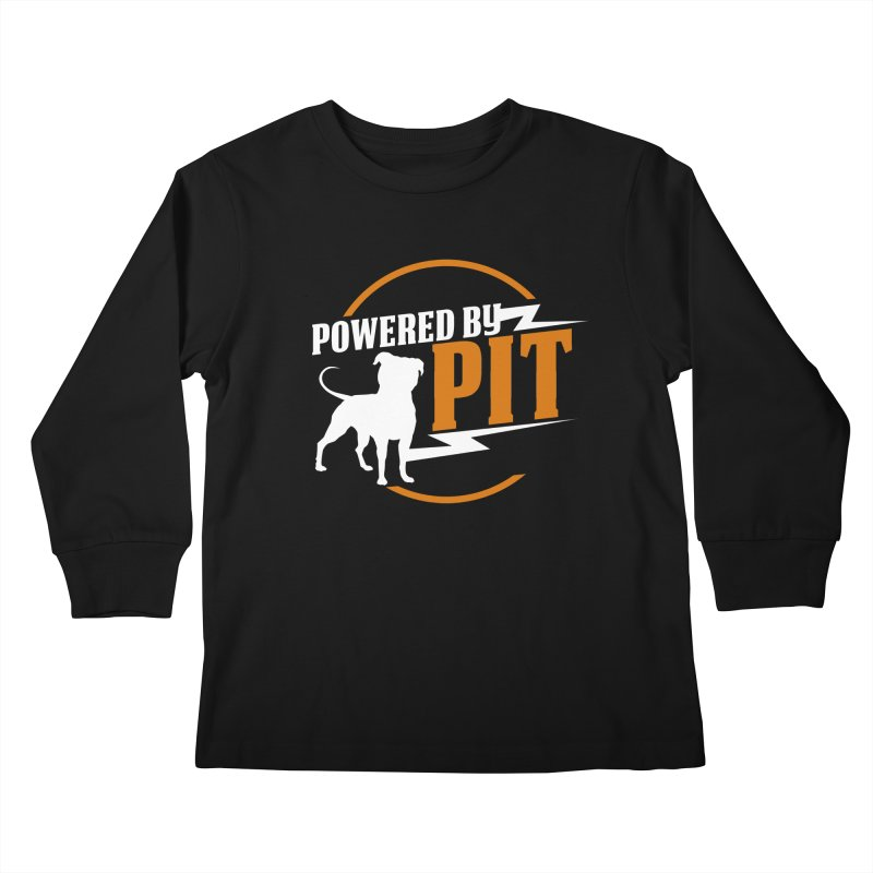 Powered by Pit Bolt Kids Longsleeve T-Shirt by Pittie Chicks