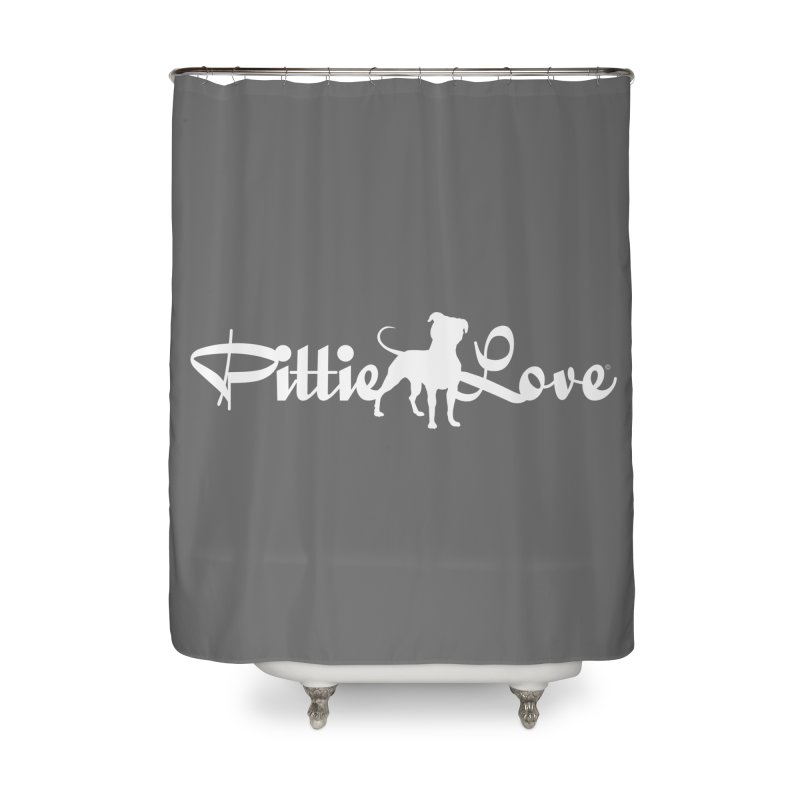 Pittie Love White Home Shower Curtain by Pittie Chicks
