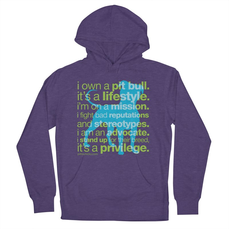 Pit Bull Advocate Blue/Green Men's French Terry Pullover Hoody by Pittie Chicks