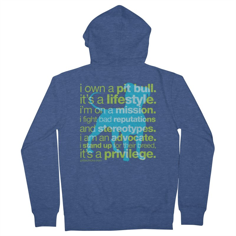 Pit Bull Advocate Blue/Green Women's French Terry Zip-Up Hoody by Pittie Chicks