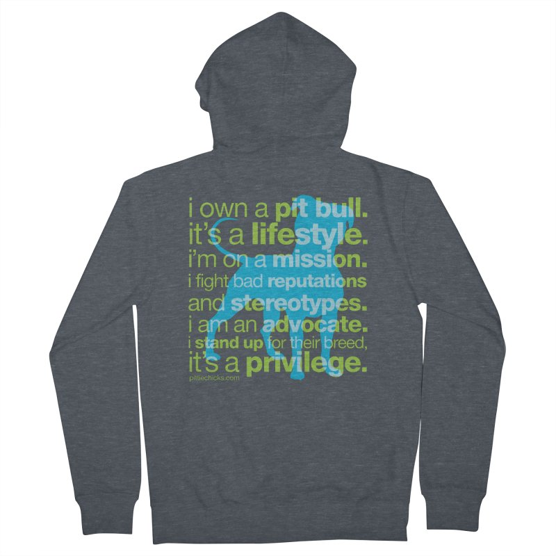 Pit Bull Advocate Blue/Green Women's Zip-Up Hoody by Pittie Chicks