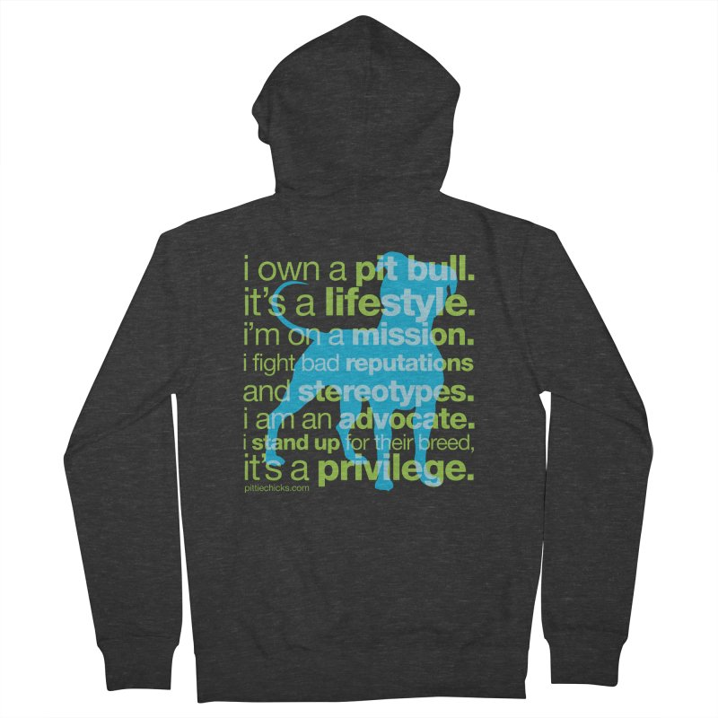 Pit Bull Advocate Blue/Green Men's French Terry Zip-Up Hoody by Pittie Chicks