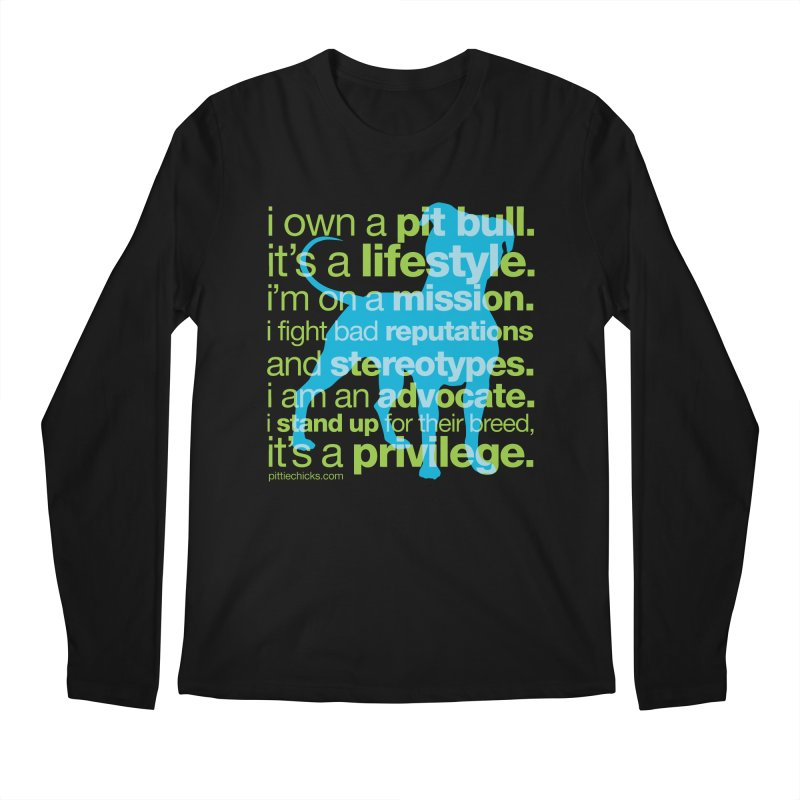 Pit Bull Advocate Blue/Green Men's Regular Longsleeve T-Shirt by Pittie Chicks