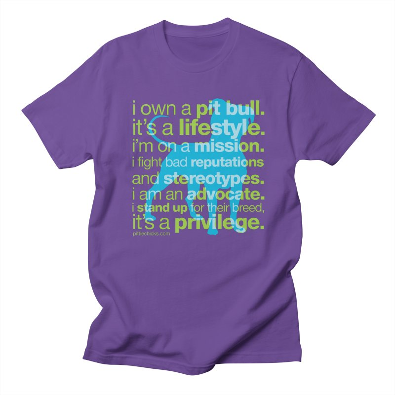 Pit Bull Advocate Blue/Green Women's Regular Unisex T-Shirt by Pittie Chicks