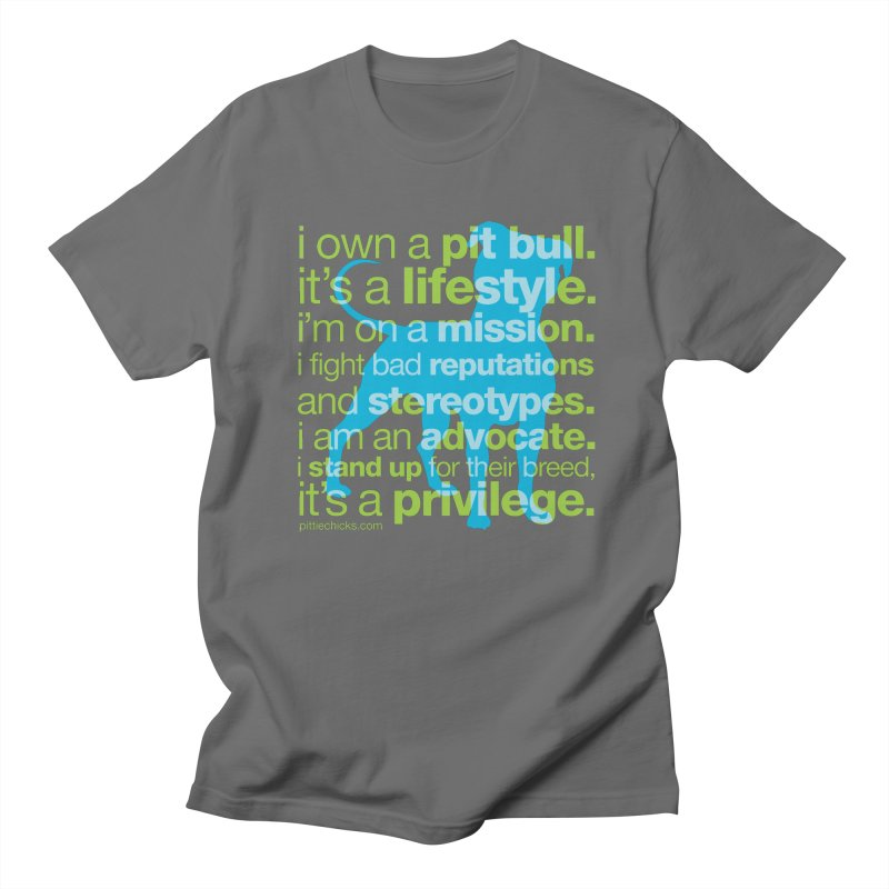 Pit Bull Advocate Blue/Green Men's T-shirt by Pittie Chicks