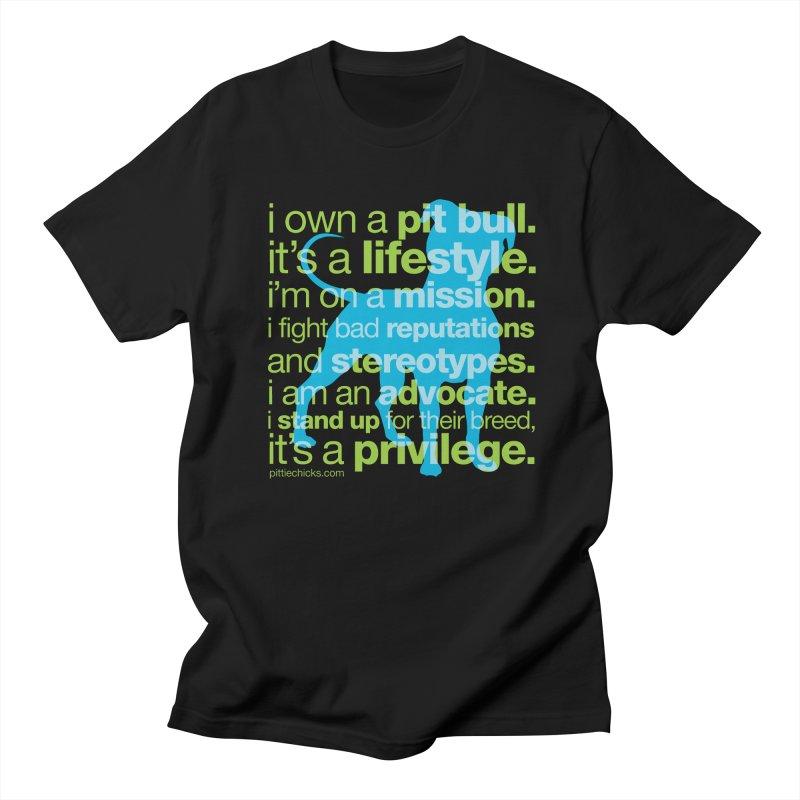 Pit Bull Advocate Blue/Green Women's Unisex T-Shirt by Pittie Chicks