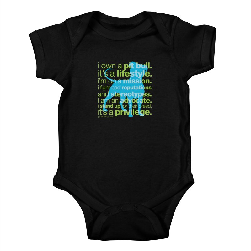 Pit Bull Advocate Blue/Green Kids Baby Bodysuit by Pittie Chicks