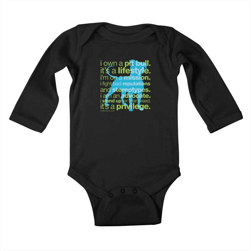 Pit Bull Advocate Blue/Green Kids Baby Longsleeve Bodysuit by Pittie Chicks