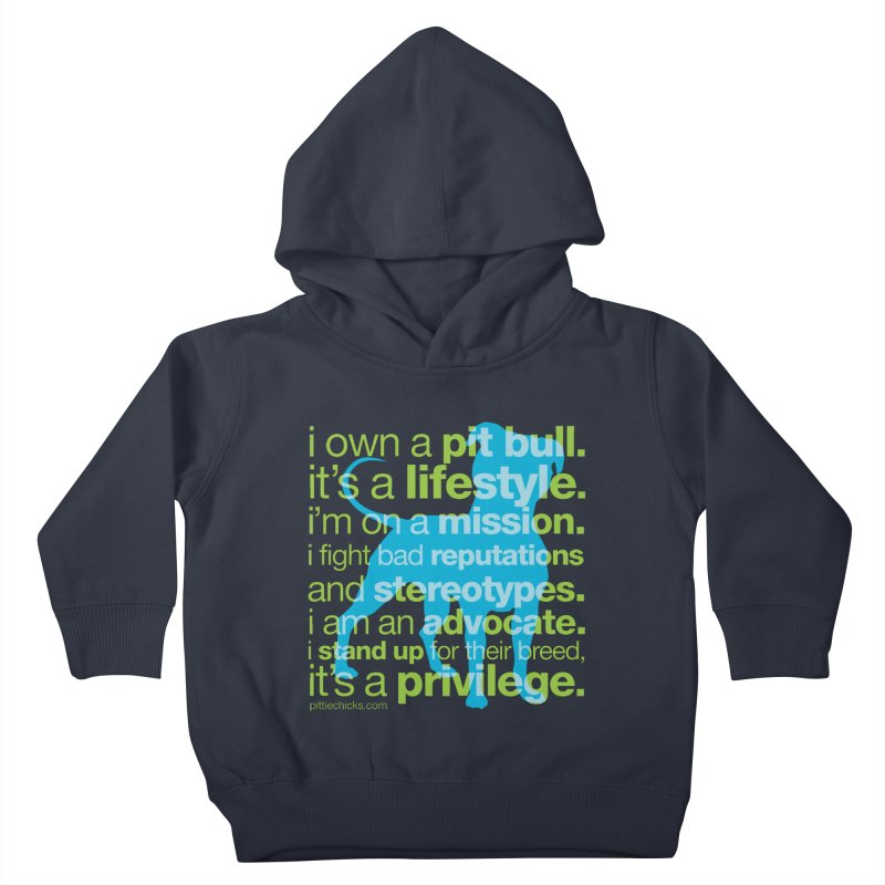 Pit Bull Advocate Blue/Green Kids Toddler Pullover Hoody by Pittie Chicks