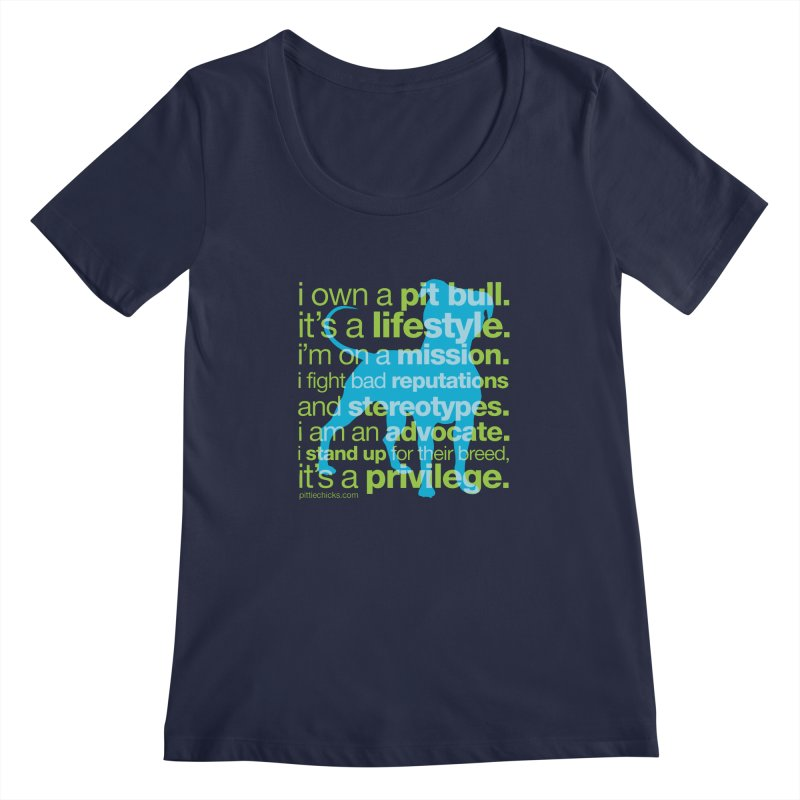 Pit Bull Advocate Blue/Green Women's Regular Scoop Neck by Pittie Chicks