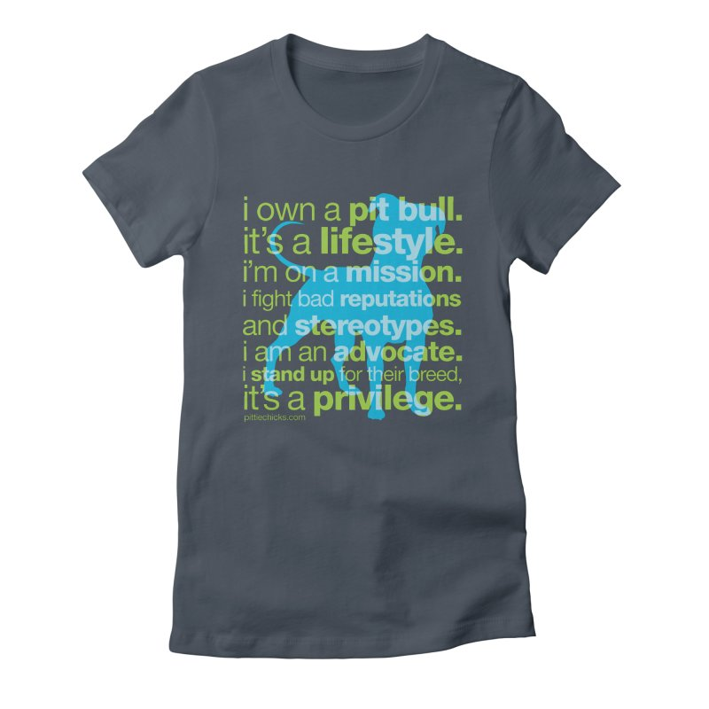 Pit Bull Advocate Blue/Green Women's Fitted T-Shirt by Pittie Chicks