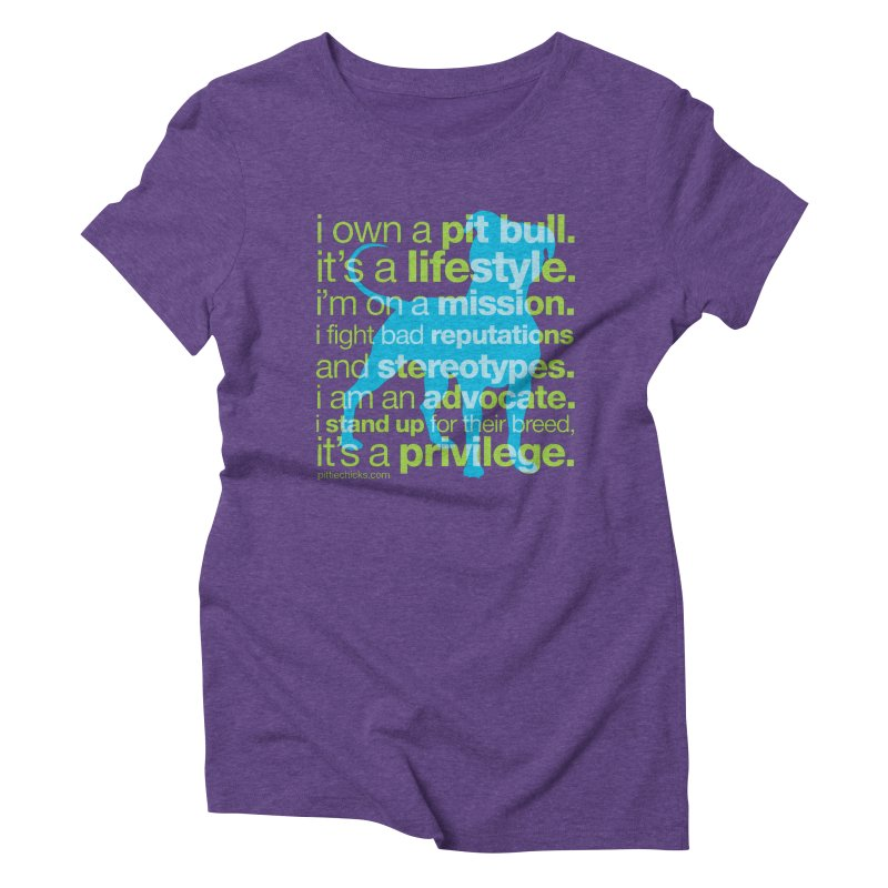 Pit Bull Advocate Blue/Green Women's Triblend T-shirt by Pittie Chicks
