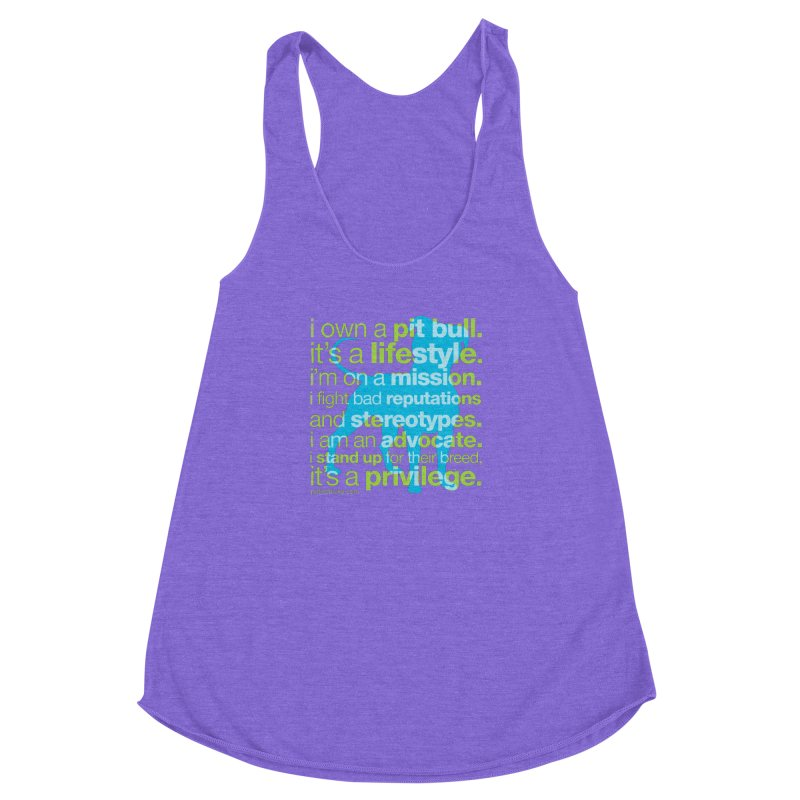 Pit Bull Advocate Blue/Green Women's Racerback Triblend Tank by Pittie Chicks
