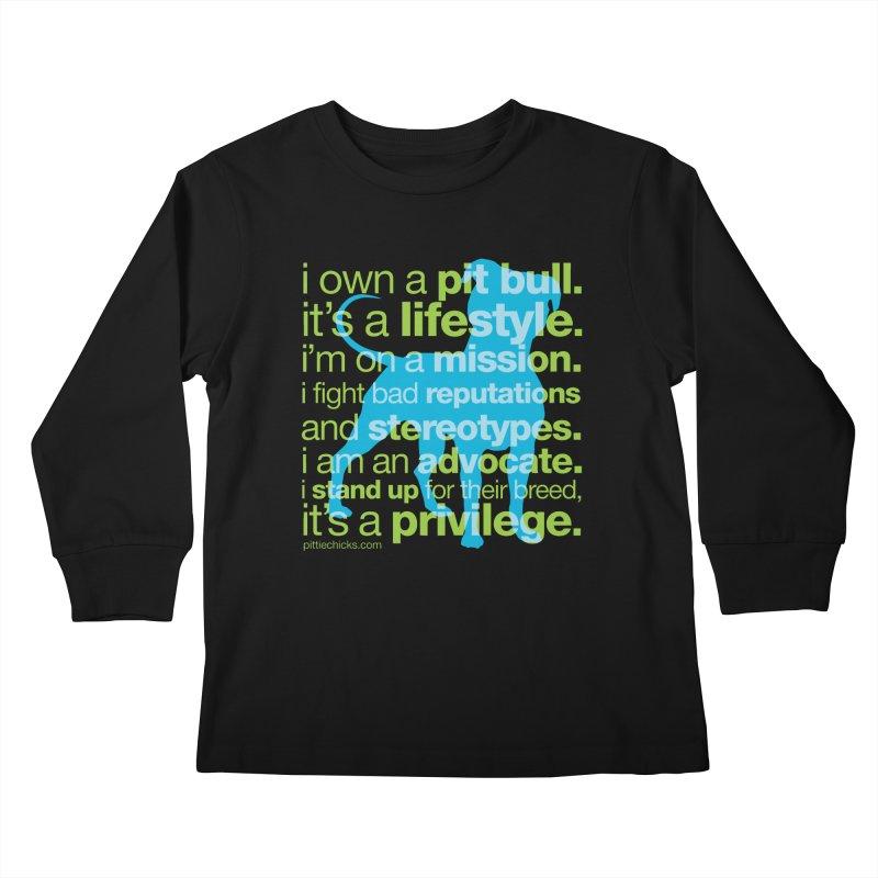 Pit Bull Advocate Blue/Green Kids Longsleeve T-Shirt by Pittie Chicks