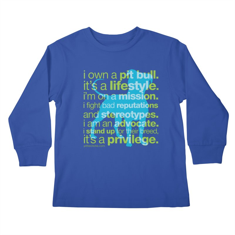 Pit Bull Advocate Blue/Green Kids Longsleeve T-Shirt by Pittie Chicks