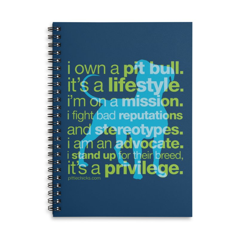 Pit Bull Advocate Blue/Green Accessories Lined Spiral Notebook by Pittie Chicks