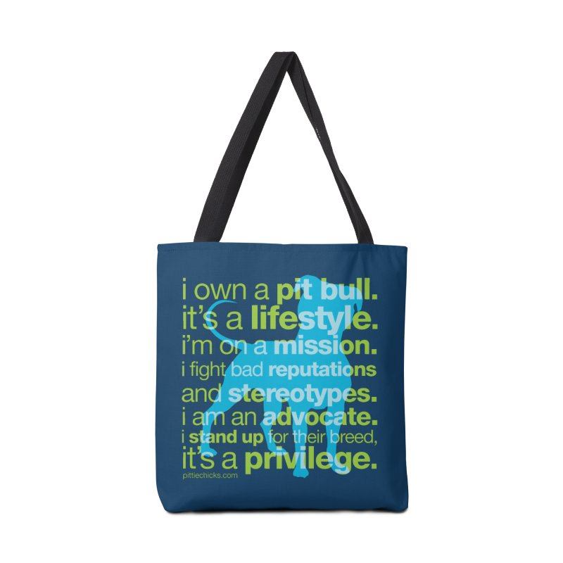 Pit Bull Advocate Blue/Green Accessories Tote Bag Bag by Pittie Chicks