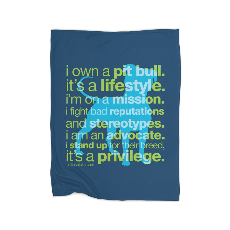 Pit Bull Advocate Blue/Green Home Blanket by Pittie Chicks