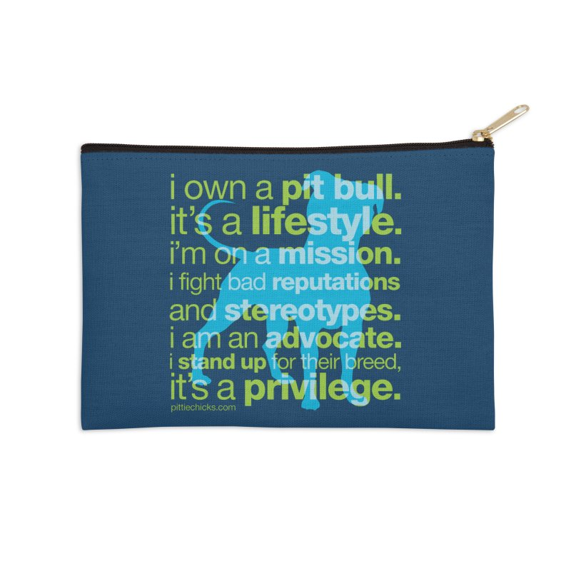 Pit Bull Advocate Blue/Green Accessories Zip Pouch by Pittie Chicks