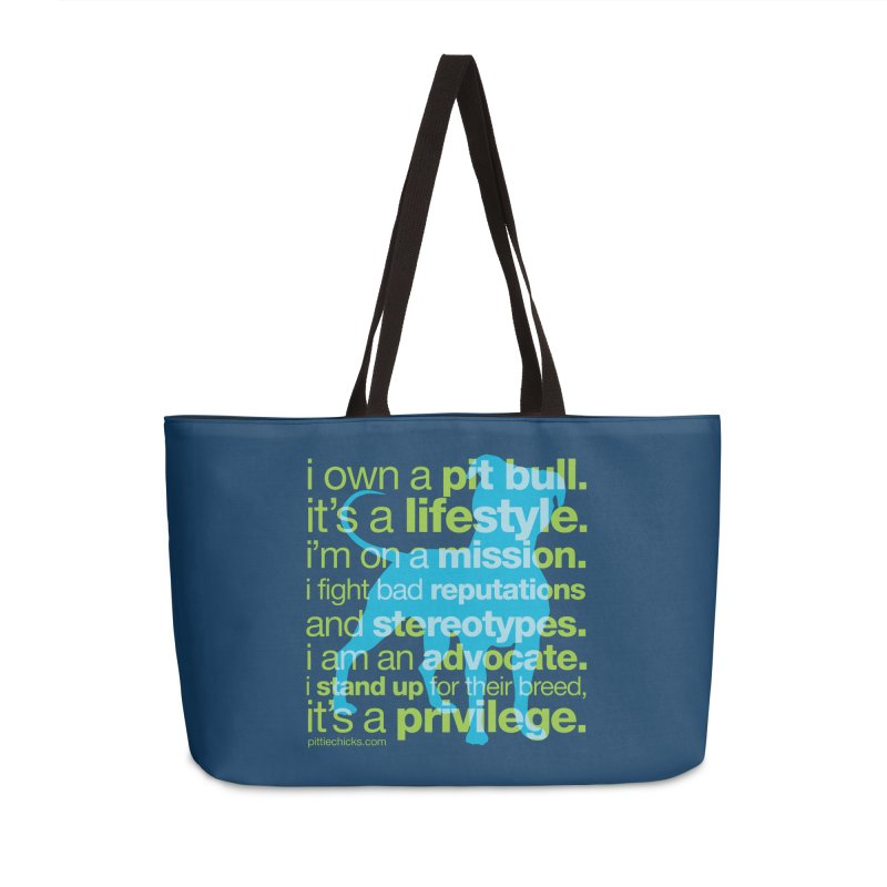 Pit Bull Advocate Blue/Green Accessories Weekender Bag Bag by Pittie Chicks