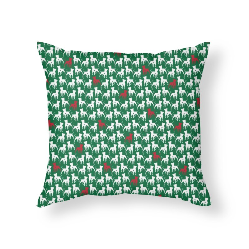 Pittie Love Holly Jolly Leggings Home Throw Pillow by Pittie Chicks