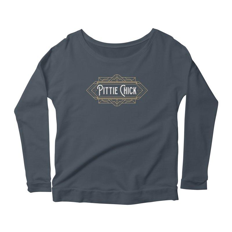 Art Deco Chick in Women's Scoop Neck Longsleeve T-Shirt Denim by Pittie Chicks