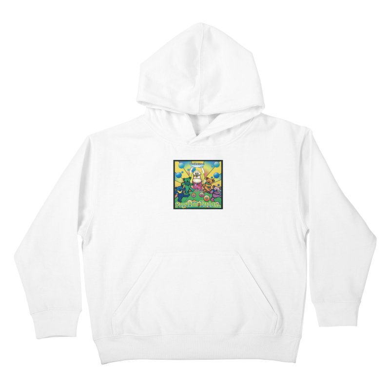 Grateful Popcorn Bears (Great for making your own tie-dye!) Kids Pullover Hoody by Popcorn Buddha Merchandise