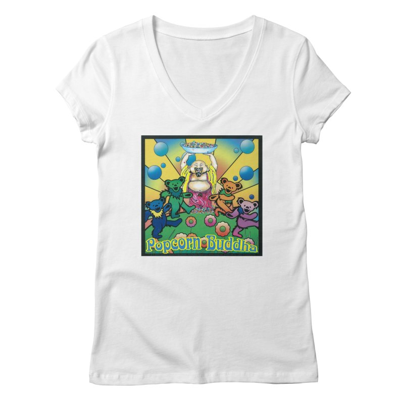 Grateful Popcorn Bears (Great for making your own tie-dye!) Women's V-Neck by Popcorn Buddha Merchandise
