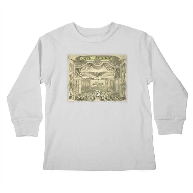 Popcorn Party History Kids Longsleeve T-Shirt by Popcorn Buddha Merchandise