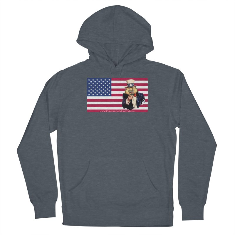 American Flag Men's French Terry Pullover Hoody by Popcorn Buddha Merchandise