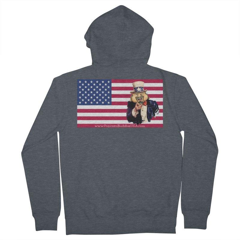 American Flag Men's French Terry Zip-Up Hoody by Popcorn Buddha Merchandise