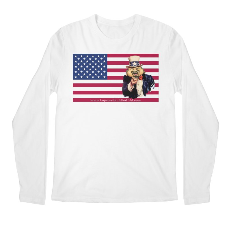 American Flag Men's Regular Longsleeve T-Shirt by Popcorn Buddha Merchandise
