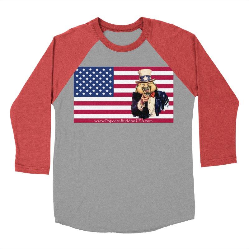 American Flag Men's Baseball Triblend Longsleeve T-Shirt by Popcorn Buddha Merchandise