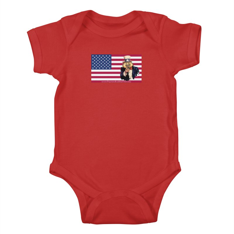 American Flag Kids Baby Bodysuit by Popcorn Buddha Merchandise