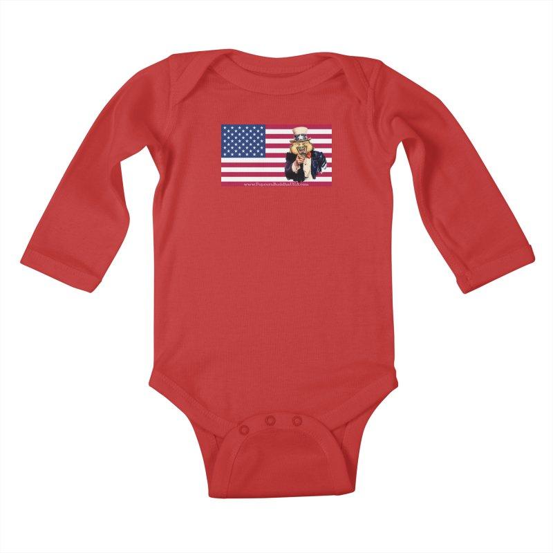 American Flag Kids Baby Longsleeve Bodysuit by Popcorn Buddha Merchandise