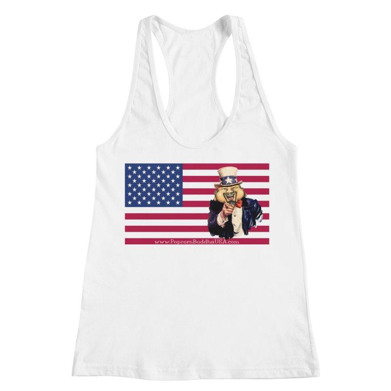 American Flag Women's Racerback Tank by Popcorn Buddha Merchandise