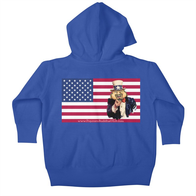 American Flag Kids Baby Zip-Up Hoody by Popcorn Buddha Merchandise