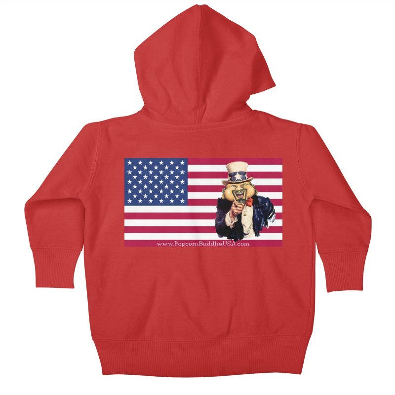 American Flag Kids Baby Zip-Up Hoody by Popcorn Buddha Merchandise