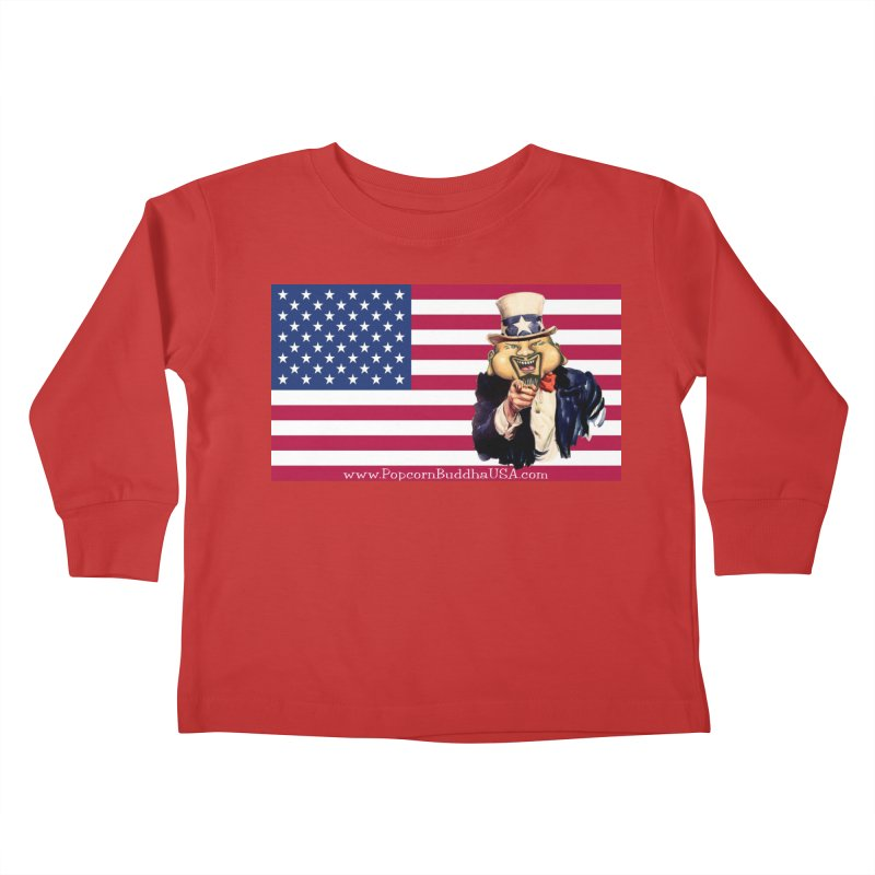 American Flag Kids Toddler Longsleeve T-Shirt by Popcorn Buddha Merchandise