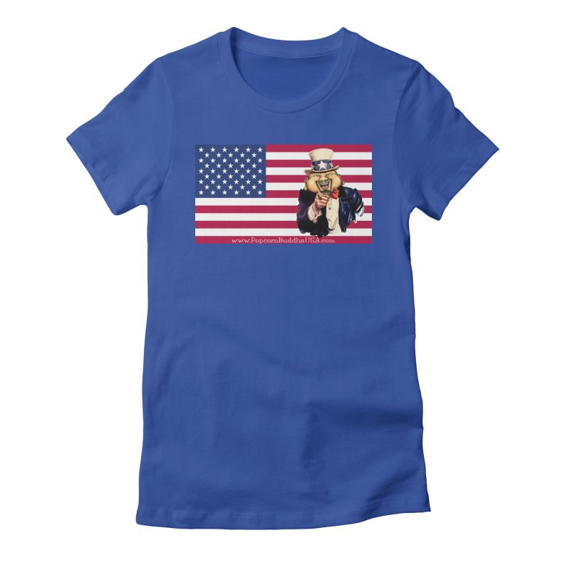 American Flag Women's Fitted T-Shirt by Popcorn Buddha Merchandise