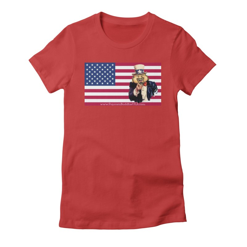 American Flag Women's T-Shirt by Popcorn Buddha Merchandise