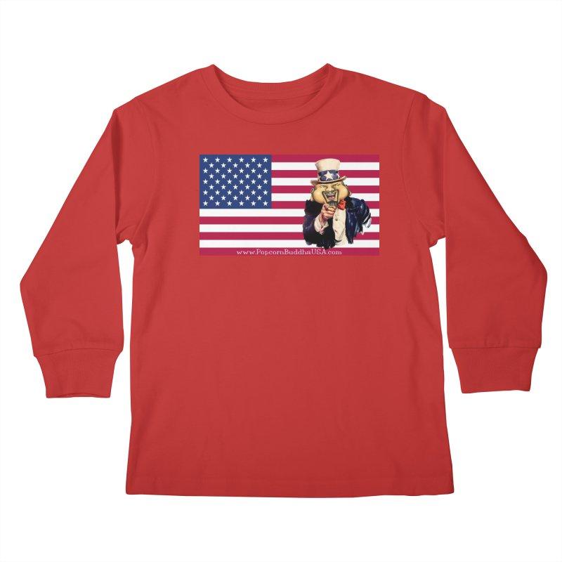American Flag Kids Longsleeve T-Shirt by Popcorn Buddha Merchandise