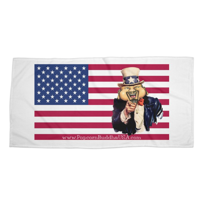 American Flag Accessories Beach Towel by Popcorn Buddha Merchandise