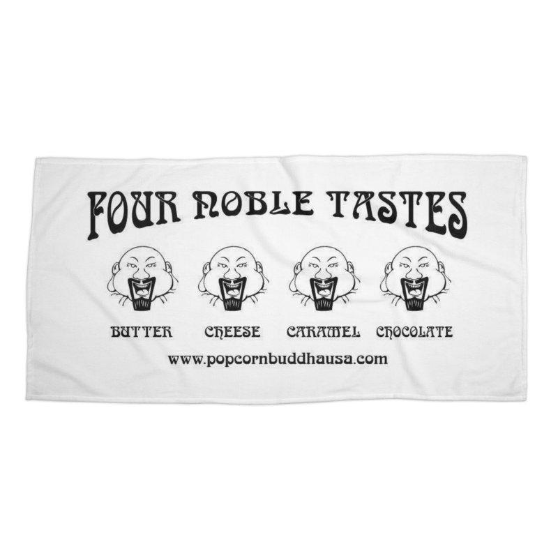 Four Noble Tastes Accessories Beach Towel by Popcorn Buddha Merchandise