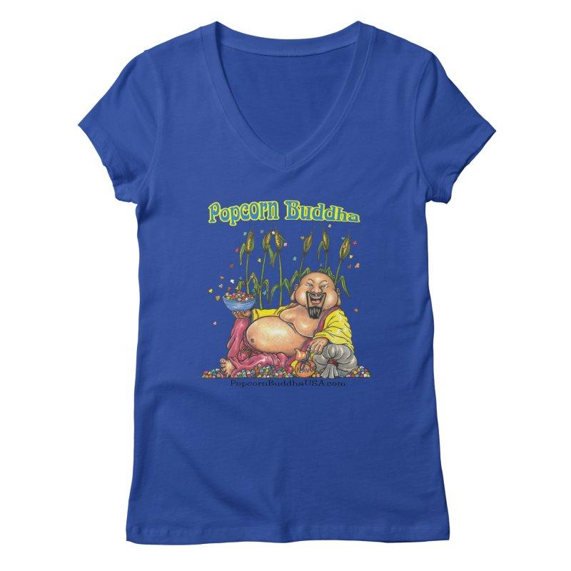 Popcorn Buddha Women's Regular V-Neck by Popcorn Buddha Merchandise