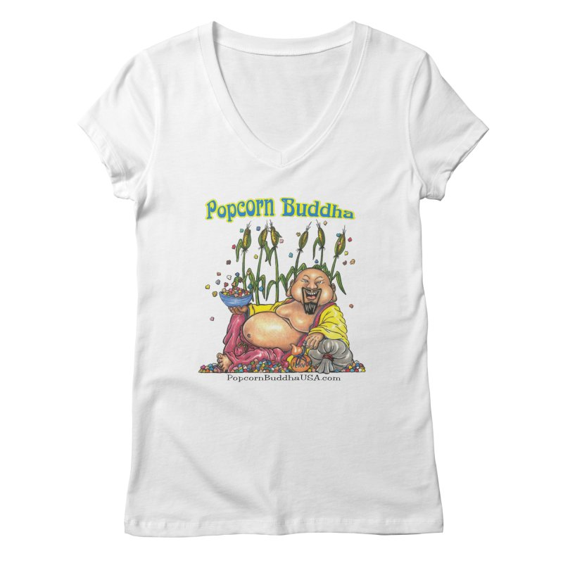 Popcorn Buddha Women's Regular V-Neck by Popcorn Buddha Merchandise