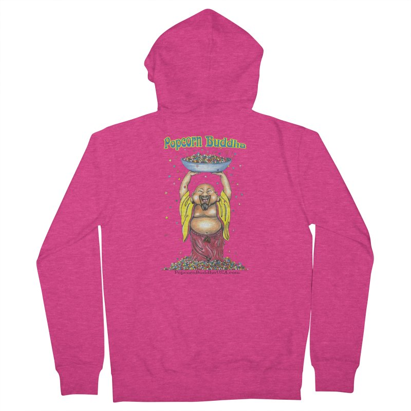 Standing Popcorn Buddha Women's French Terry Zip-Up Hoody by Popcorn Buddha Merchandise