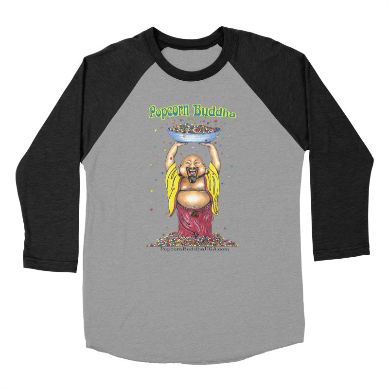 Standing Popcorn Buddha Men's Baseball Triblend Longsleeve T-Shirt by Popcorn Buddha Merchandise