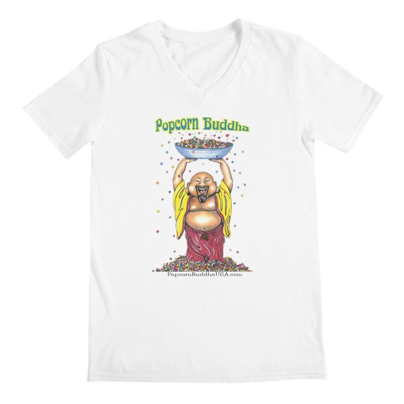 Standing Popcorn Buddha Men's Regular V-Neck by Popcorn Buddha Merchandise