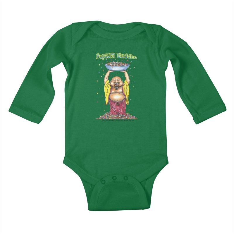 Standing Popcorn Buddha Kids Baby Longsleeve Bodysuit by Popcorn Buddha Merchandise